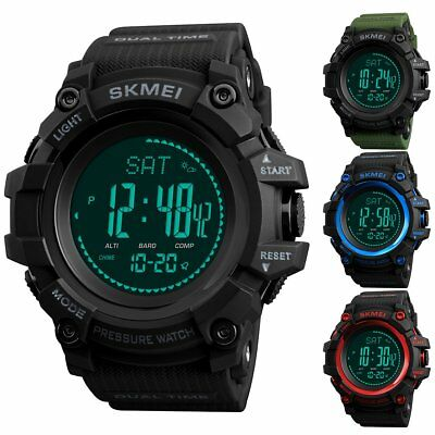 SKMEI Men's Waterproof Sports Watch Barometer Analog LED Digital Wrist Watch