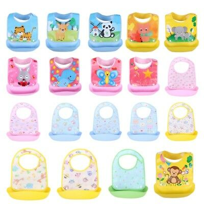 Waterproof Baby Soft Silicone Bibs Feeding bib Kids Cartoon Food Catcher Pocket