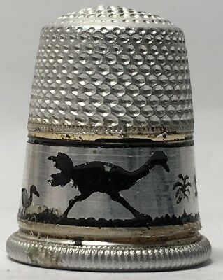 Aluminum Silhouette Thimble - Ostriches on Band from eggs to Full Size