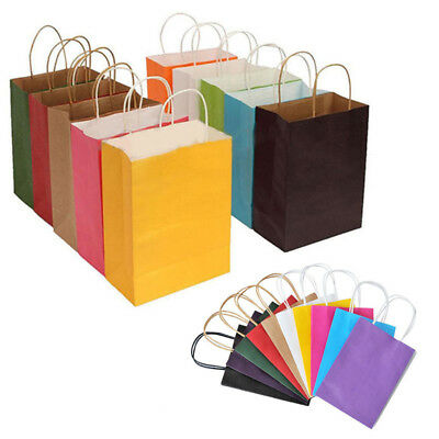 With Handle 10 Colors Party Bags Kraft Paper Gift Bag Recyclable Shop Loot Bag #
