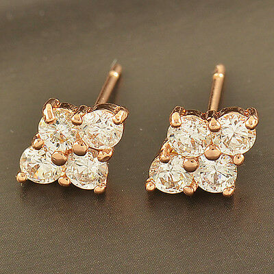 Wedding  Sparkling 14K Rose Gold Filled Top Cubic Zirconia Womens Stud earing