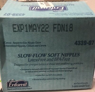 Enfamil Slow Flow Soft Nipples 12 Nipples Collars Covers Exp 05/2022  open  Box