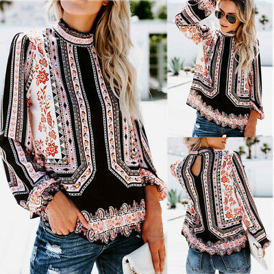 Women Casual Vintage Printed Long Sleeve Stand Collar Chiffon Shirt Blouse Tops