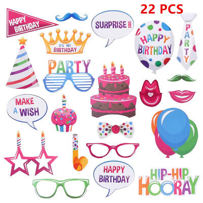 22pcs Party Props Photo Booth Selfie Wedding Birthday Party Photography BBTT