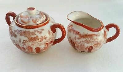 Japanese jug and bowl - Kutani Porcelain - Signed - hand painted in Red and Gold