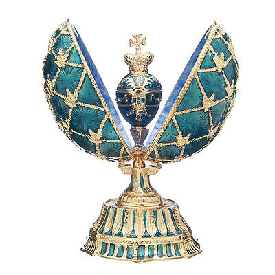 Faberge Egg with Russian Coat of Arms, Emperor's Crown & Clock 5.7'' 14.5cm blue