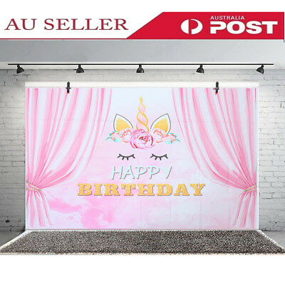 Pink Curtain Unicorn Birthday Backgrounds Party Event Photography Backdrop 3x5ft