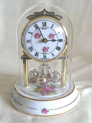 Vintage Hermle (Germany) quartz mantle clock-glass dome-(missing rotating wire)