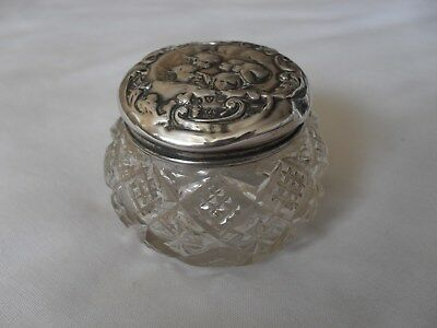 Antique cut glass solid silver dressing table container hallmarked Chester 1904