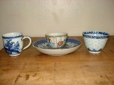 Chinese 18th century qing period 1plate  and 19th century 3cups