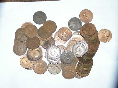 Lot Of 70 Great Britain Pennies