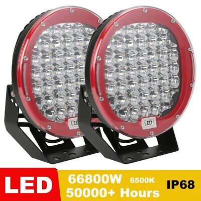 2x 9inch 68000W Round LED Work Light Spot Flood Driving Lamp Offroad SUV Truck