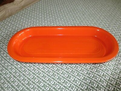 Vintage GENUINE FIESTA Homer Laughlin OVAL RELISH DISH - Red Orange