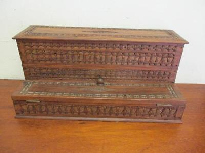 Vintage Wooden Asian Carved Wooden Desk Organiser Caddy Stationary Box Writing