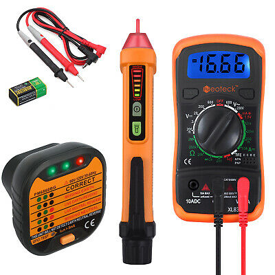 Digital Electrical LCD Non-Contact Pen Multimeter Voltage Tester+ Socket Tester