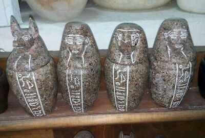 Rare Antique Ancient Egyptian granite canopic jars bc