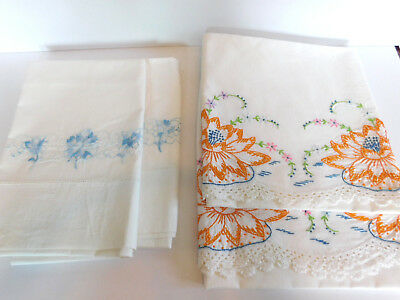 2 Pair Hand Embroidered Pillowcases Blue Flowers & Lilly Pads