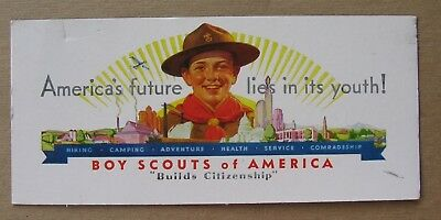 """Vintage 1930's Unused Boy Scouts of America Ink Blotter """"Builds Citizenship"""""""