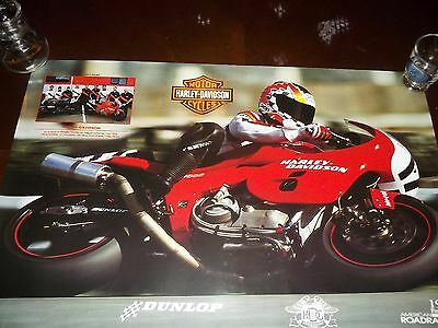 1994 American Roadracing Harley Davidson Hog Dunlop Motorcycle Poster