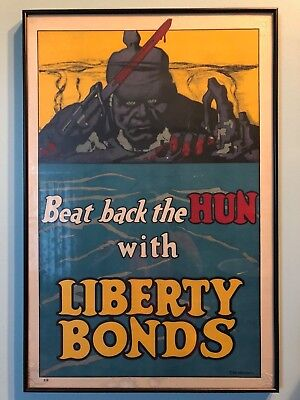 Original 'Beat Back the Hun' bond poster WW I - artist is Fred Strothmann (1918)