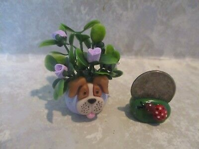 "Miniature FUN 2""h Mini BEAGLE Dog Polymer vase of Polymer assorted roses TINY"
