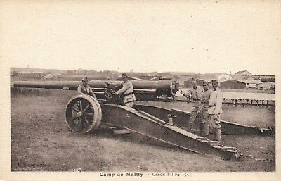 VINTAGE FRENCH WWI CAMP de MAILLY CANON FILION 155 mm POSTCARD