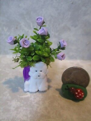 "Miniature Shadowbox/Doll 2""h FUN DOG Planter of tiny roses #1"