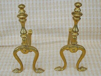 Vintage Pair Of Solid Brass Fire Dogs In Good Condition