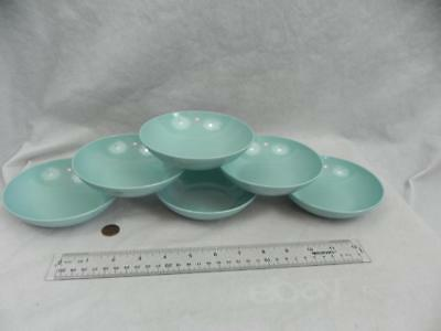 "Vintage Set of 6 STETSON Aqua Blue MELMAC Dinnerware 5"" Salad Bowls Chicago S-3"