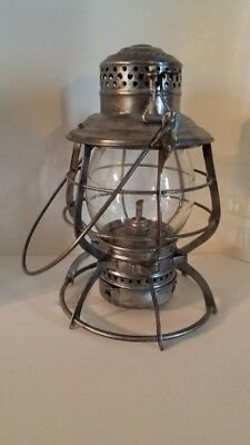 Chicago and Alton RR lantern. Embossed globe and top. Looks brand new.