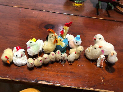 Lot of 19 vintage 1940s? Easter Chicks Made in Japan- cotton.