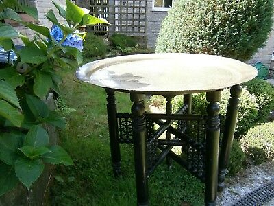 "Large Antique Indian 24"" Brass Topped Wooden Folding Table Ornately Carved"