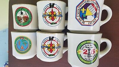 Boy Scouts of America CAMPOREE Mugs, Florida BSA, set 6, Lauderdale, Vintage