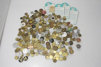 4.2 Lbs Mix Lot Of Coins Tax Tokens City Coins Souvenir Transport Tokens & More