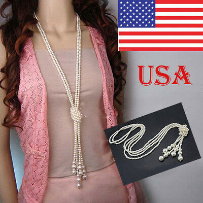 57418cb7a Women Elegant Faux Pearl Tassel Long Chain Charms Sweater Necklace