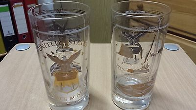 United Air Force 2 drink glasses of the Air Force Academy Colorado Springs 1985