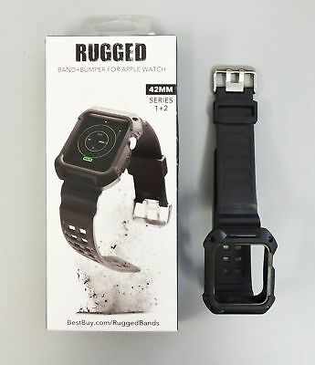 Rugged Watch Strap Band + Bumper for Apple Watch 42mm series 1 2 3 Black
