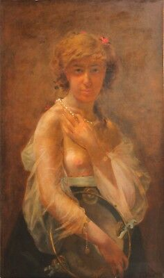 Large Original Antique 19th C. Oil Painting-Portrait of Young French Prostitute