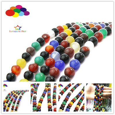 4/6/8/10/12mm Natural Color Agate Stone Round Loose Beads Fit Bracelet Necklace