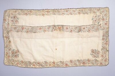 Antique Hand Embroidered Ottoman Silver Gilt Floral Garland Table Scarf w Pocket