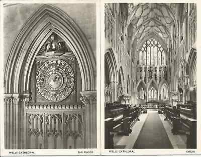 Two Old Postcards of Wells Cathedral. The Clock and The Choir