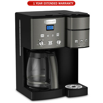 Cuisinart 12 Cup Coffeemaker and Single Serve Brewer Black + Extended Warranty (