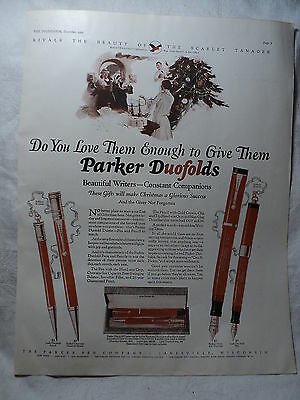 PARKER DUOFOLD Fountain Pen 1925 Big Red Christmas Ad 10 1/2 x 14""