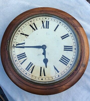 "Antique Fusee Movement 12"" Dial School/station Wall Clock"
