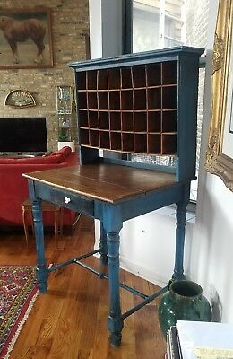 Antique Workbench Circa 1910 Chicago Americana Furniture Postmans Desk RARE