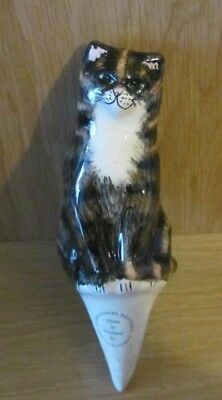 Babbacombe pottery tabby cat for planter watering - good condition