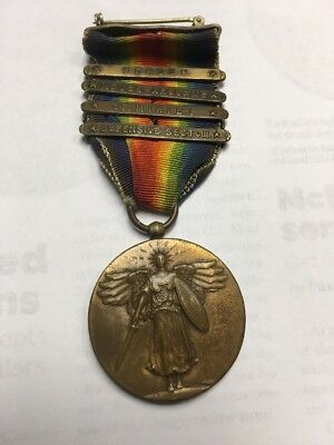 WWI US 4 Bar Victory Medal Verdun Meuse- Argonne St. Mihiel defensive sector