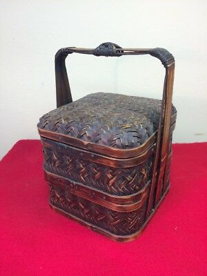 Antique Vintage 2-tier Japanese Bamboo Basket With Potpourri & Handle Gorgrous!