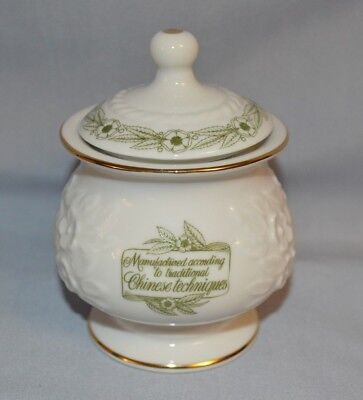 Porcelain White Jar W/lid Marked Pure Ceylon Green Tea Mlesna Sri Lanka Bottom