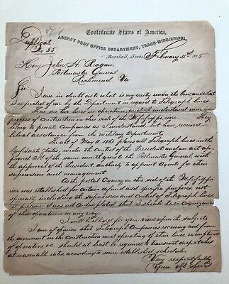 1865 letter to JOHN REAGAN CONFEDERATE POSTMASTER GENERAL on Confed. letterhead